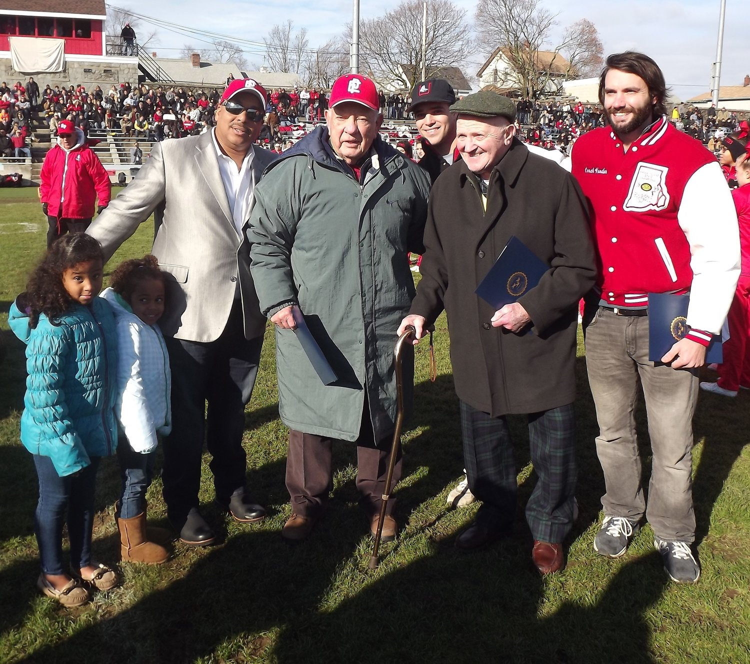 Representative Townies Matt Lopes, Bill Stringfellow, Jaime Silva, Jim Deffley and Joe Wahl were all honored on Thanksgiving in 2014 commemorating the 75th year of Pierce Stadium