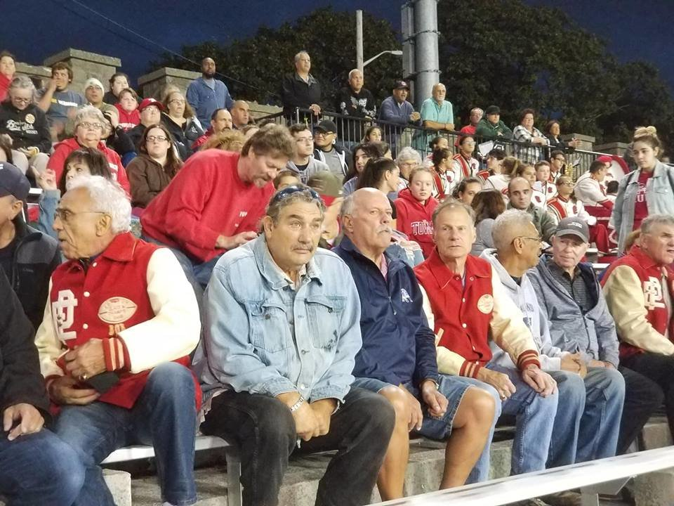 Members of the 1967 EPHS football team take in the Townies  2018 version.