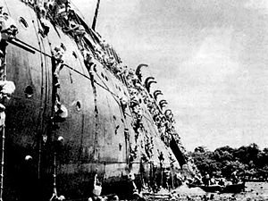 The Coolidge in October 1942 abandoning ship