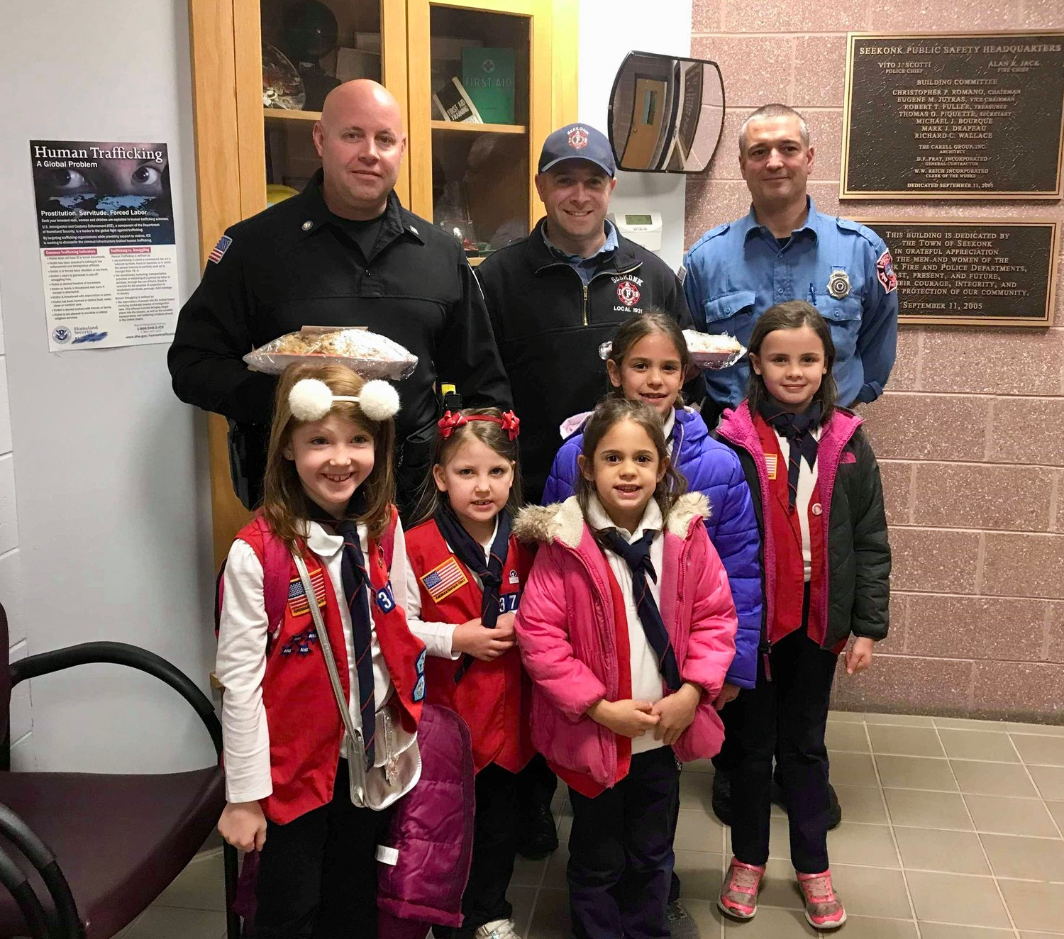 Tenderhearts from American Heritage Girls Troop MA3712 deliver homemade cookies to the Seekonk Police/Fire Station