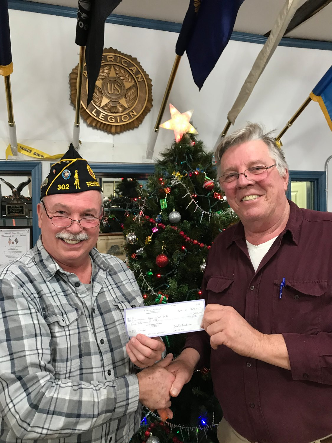 "Eastern Star Lodge donating $1,000.00 to American Legions ""Service Account"