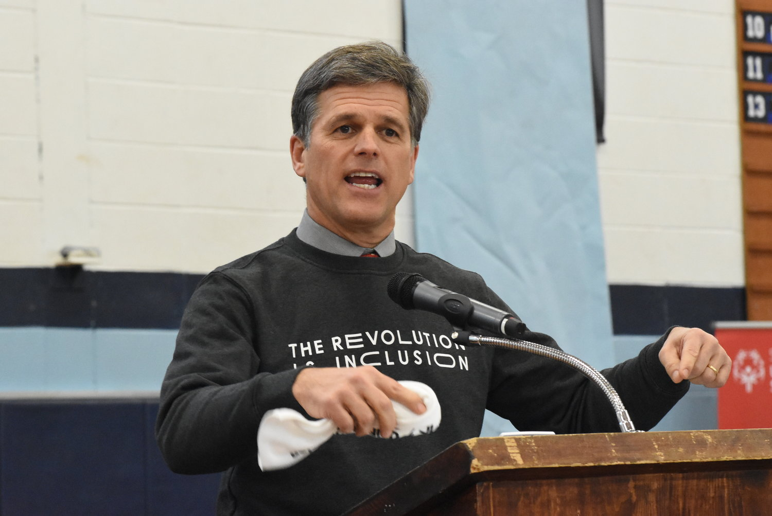 Tim Shriver, Chairman of Special Olympics, speaks to Seekonk High students.
