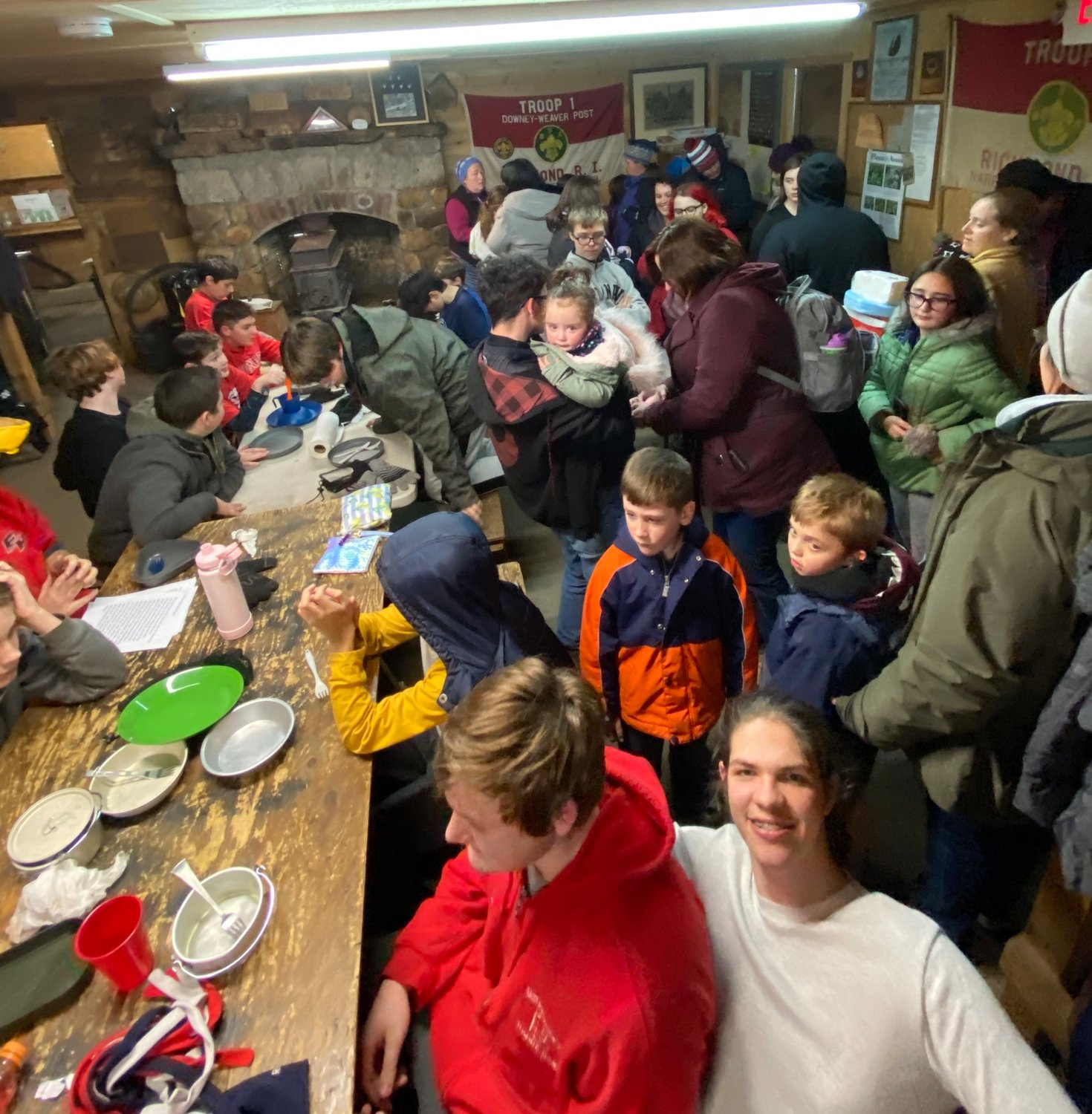 Great turnout of scouts family and friends at our Trash Can Turkey Thanksgiving campout dinner.