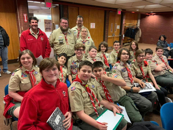 Scouts attend a City Council meeting as part of their Communications merit badge.