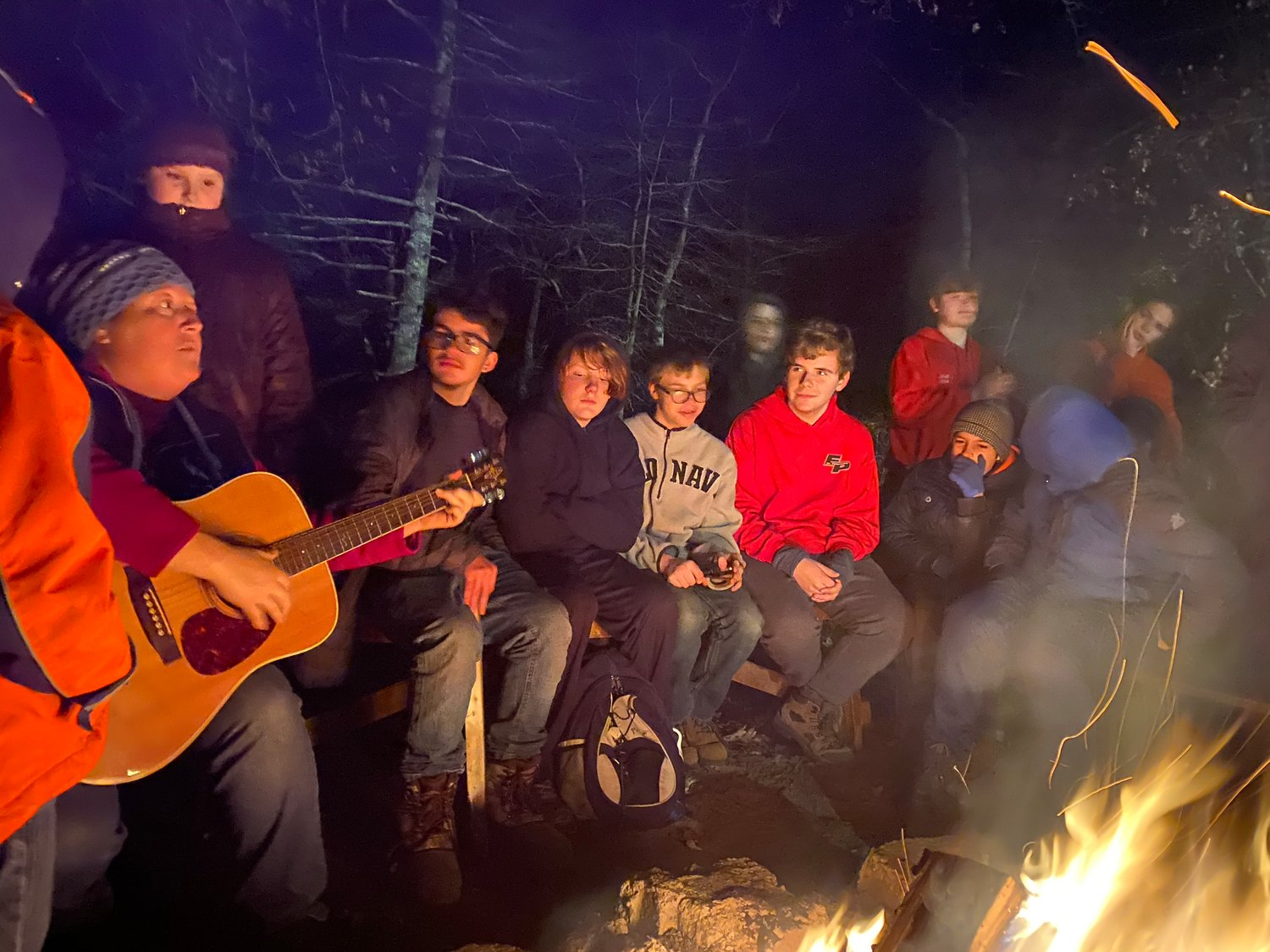 Campfire singing at the Thanksgiving campout.