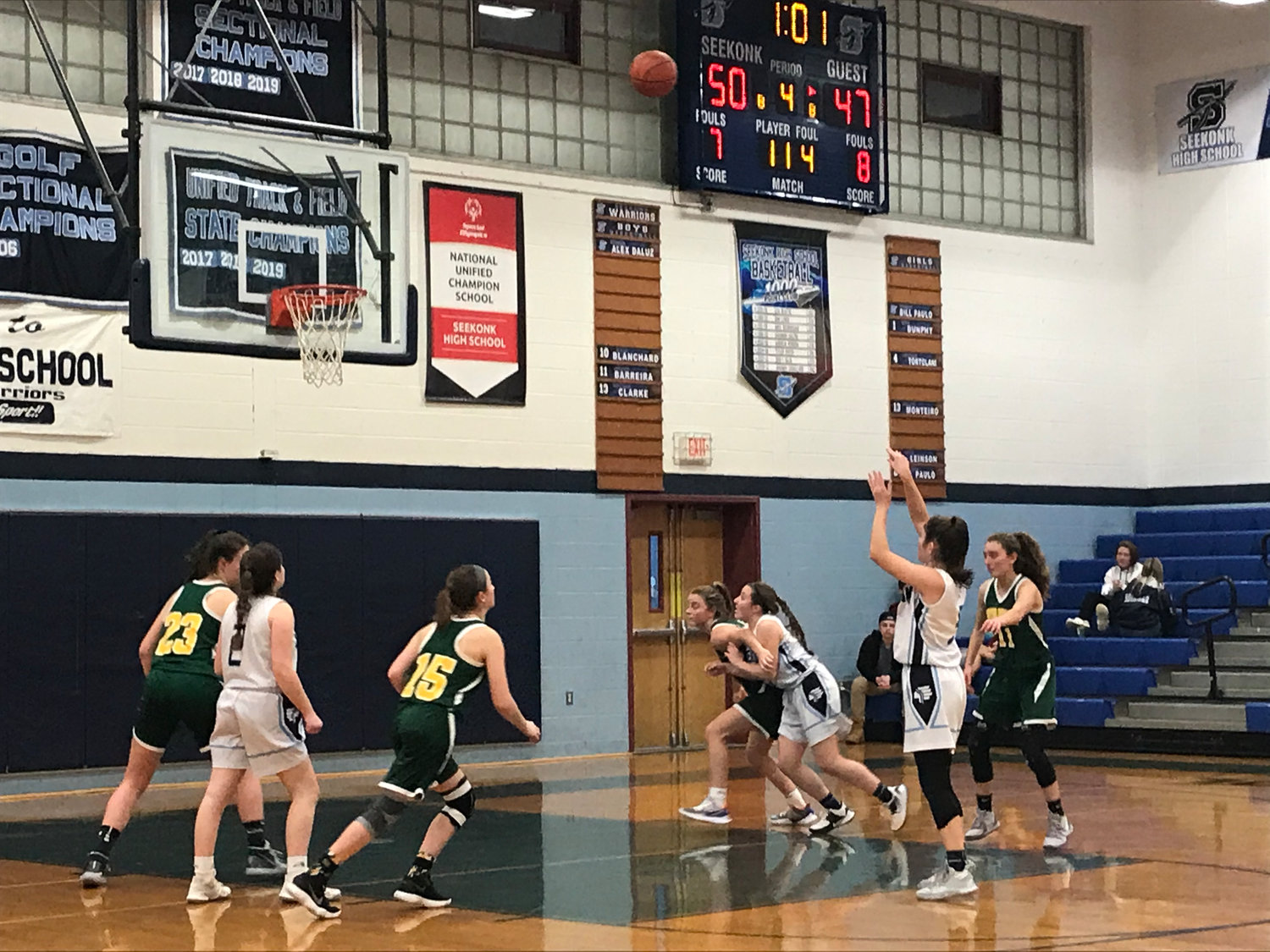 Seekonk senior guard Mia DiBiase shoot a free throw late in the fourth quarter of Tuesday's win over Dighton-Rehoboth.