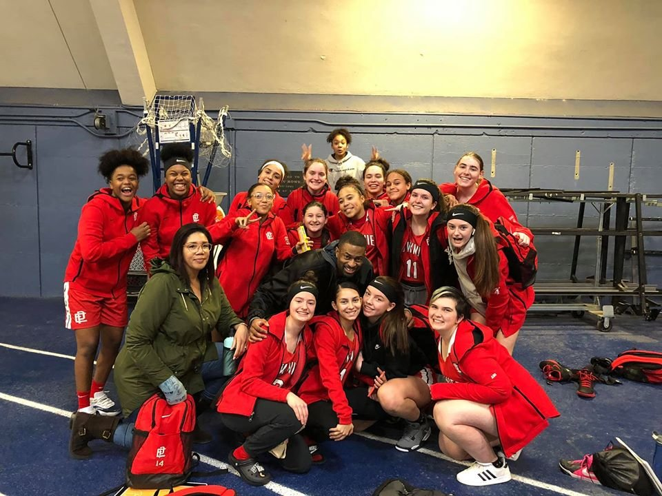 Lady Townies after team's first win in two seasons.