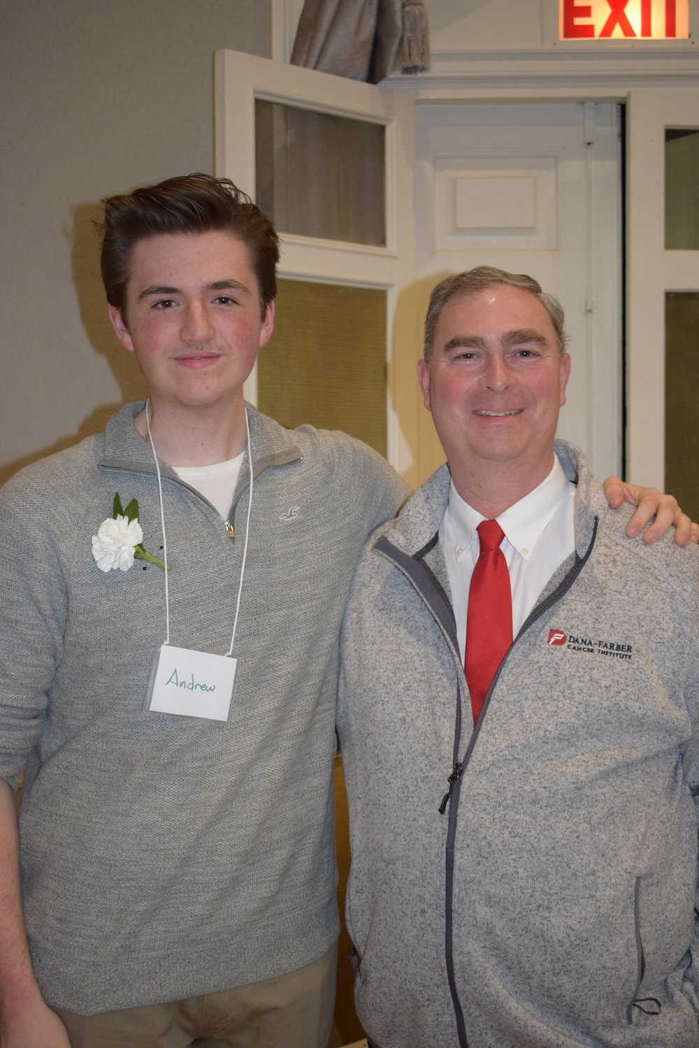 The Honorable State Representative Brad Hill is featured in one of the pictures with the Masters of Ceremony for the evenings event  Andrew Valianti a senior at Triton Regional High School in Newbury, MA.
