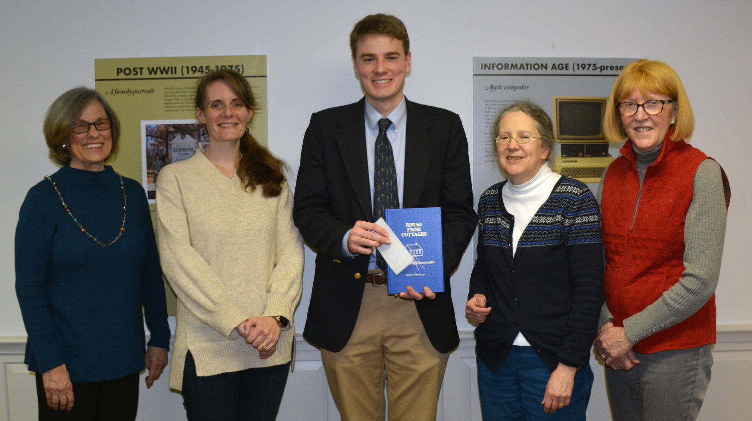 (from left to right): Joyce Coleman (RAS Scholarship Committee), Anna Deignan (RAS Scholarship Committee), Thomas Rice (Award Recipient), Rebecca Smith (RAS President), Maureen Whittemore (RAS Scholarship Committee).]