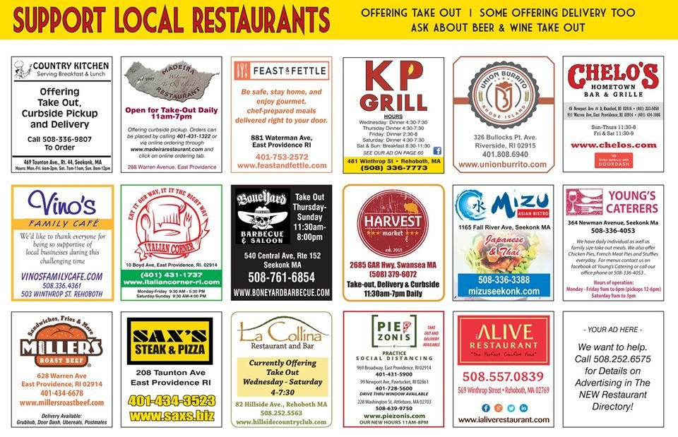 Restaurants: Call us to be featured in May 508-252-6575