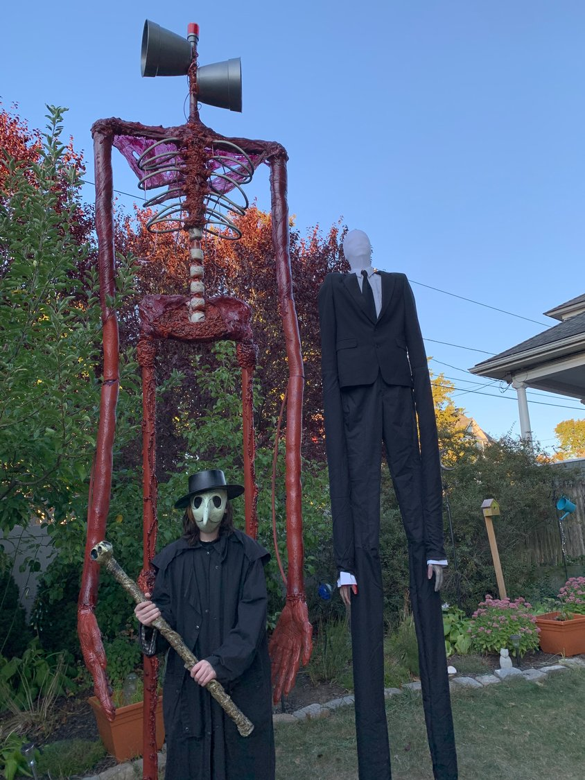 Sirenhead, Slenderman, and Tyler Anctil as the Plague Doctor