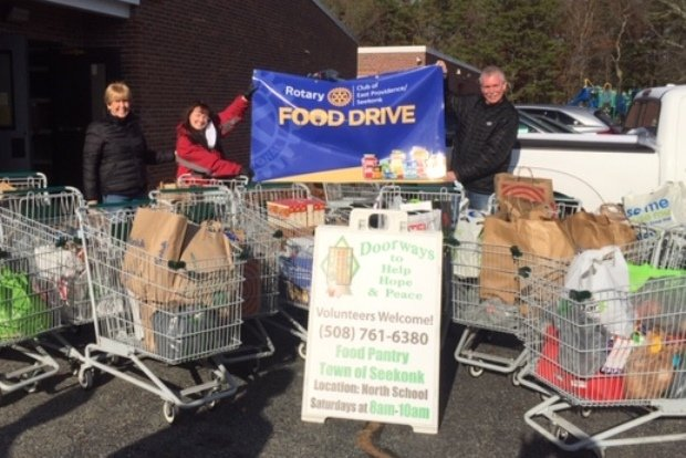 Members of the East Providence-Seekonk Rotary Collected Hundreds of Pounds of Food