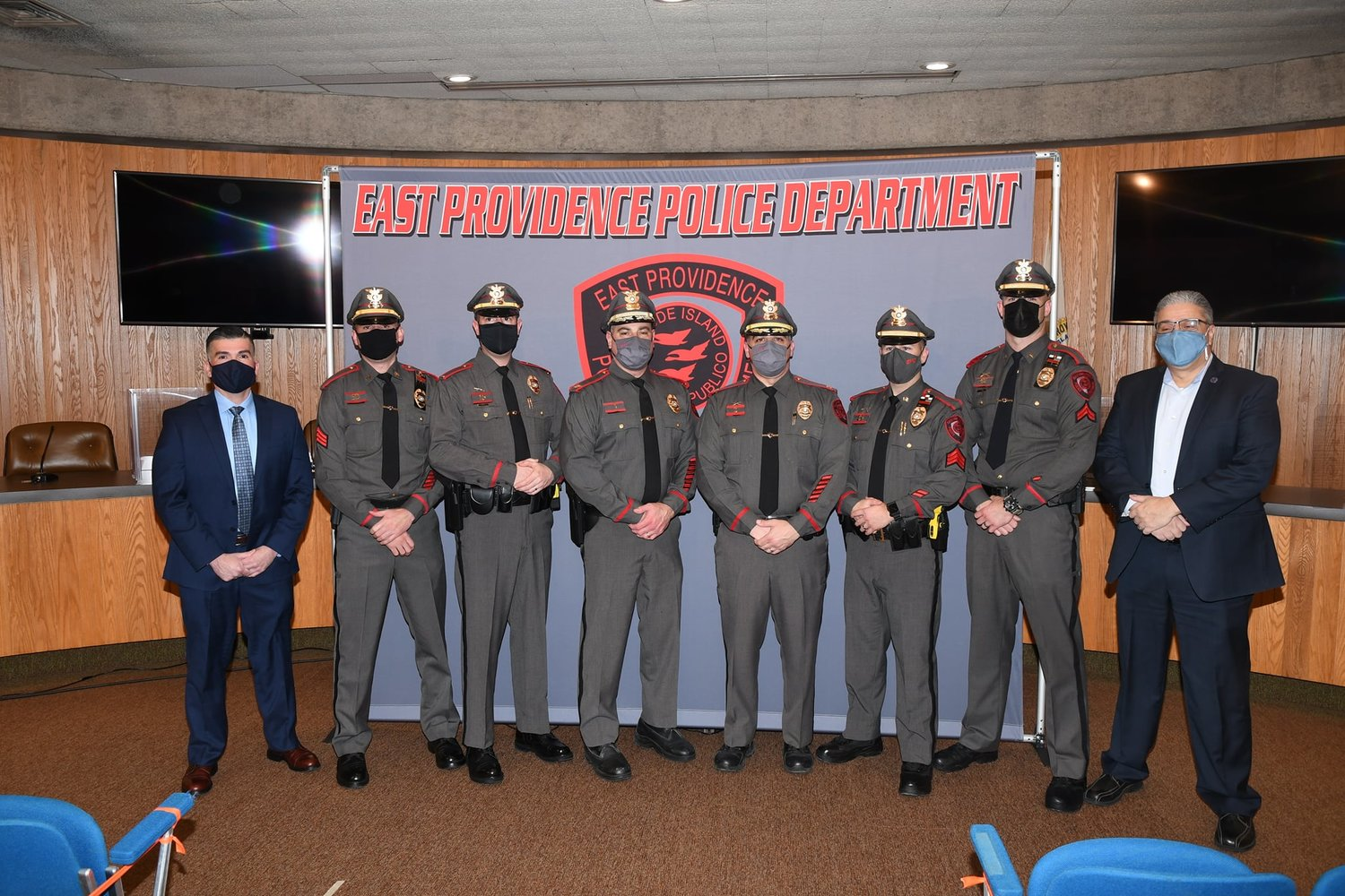 Lt. Michael Rapoza, Sgt. Stephen Rodrigues, Sgt. Andrew Dubois, Detective Corporal Warren Caldwell and Detective Corporal Dennis Medeiros on their promotions! All were formally sworn in by Mayor DaSilva late last month.