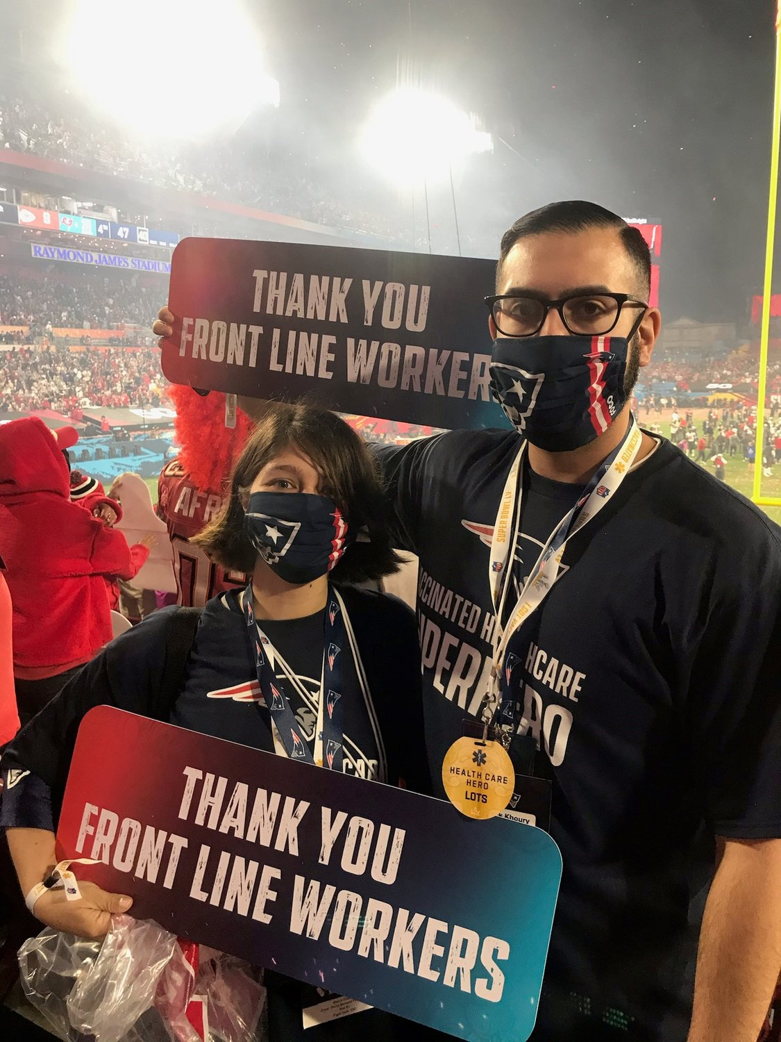Maura Cosman, Emergency Department Tech, and Patrick Khoury, Inpatient Nurse on the Balfour unit, at Super Bowl LV in Tampa Bay, FL