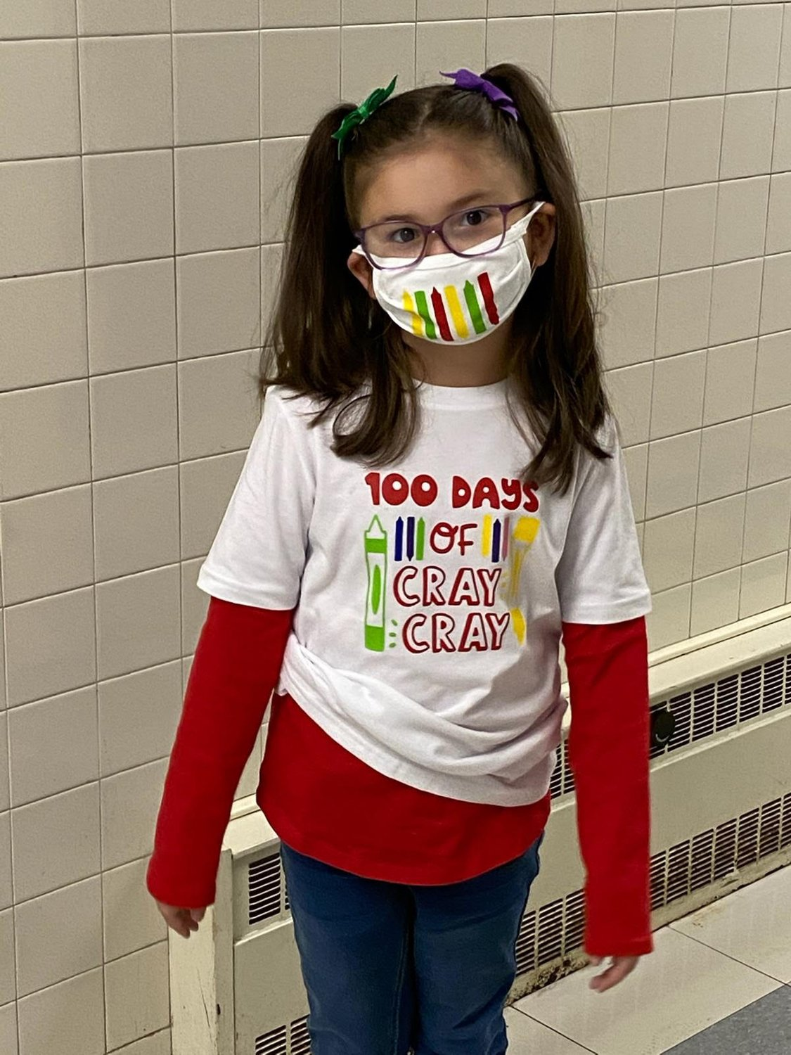 Isabella is ready for the 100th day of school.