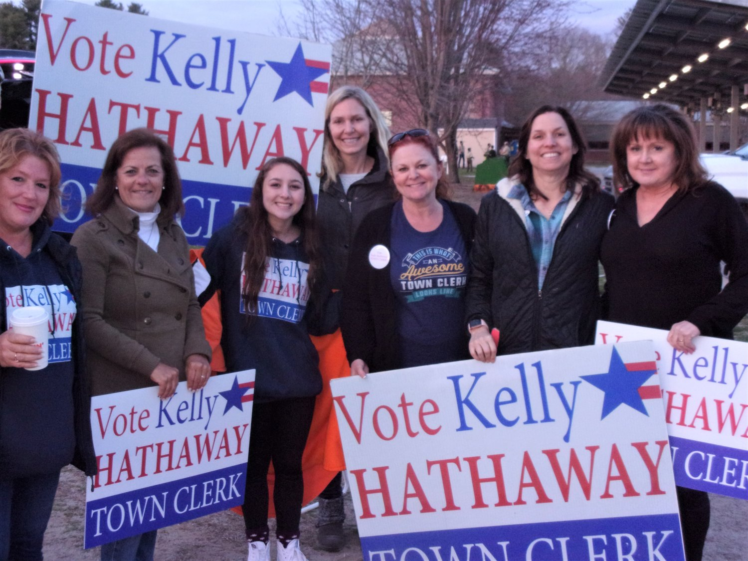 Supporters with Kelly Hathaway