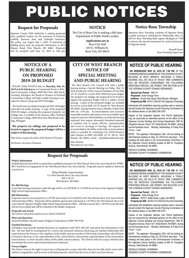 393d56fc6068 Ogemaw County Public Notices - Ogemaw County Herald