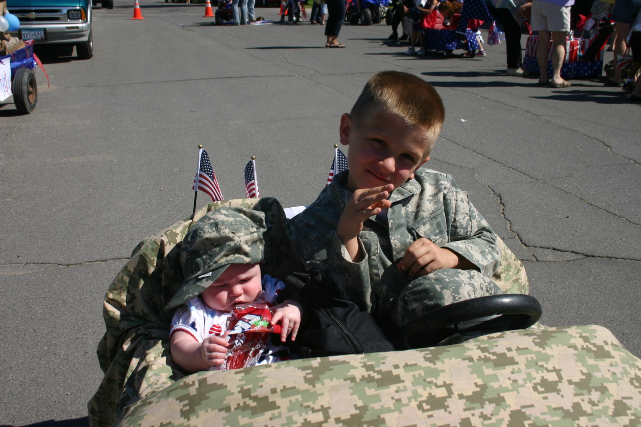 Connor and Mariah in their float in the kiddie parade