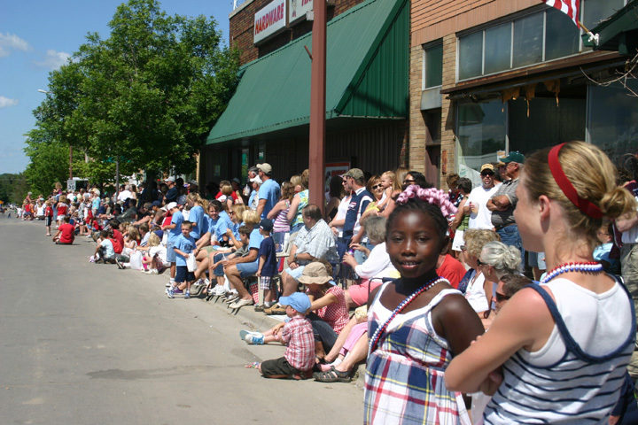 Crowds gathered on Main Street