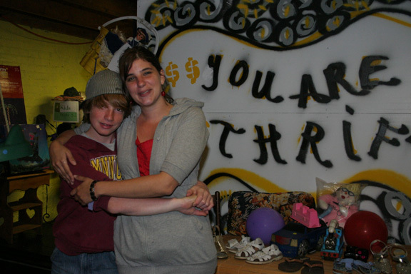 Julie Petrzilka with her nephew Brad Burgess, who is helping out at the shop in Tower.