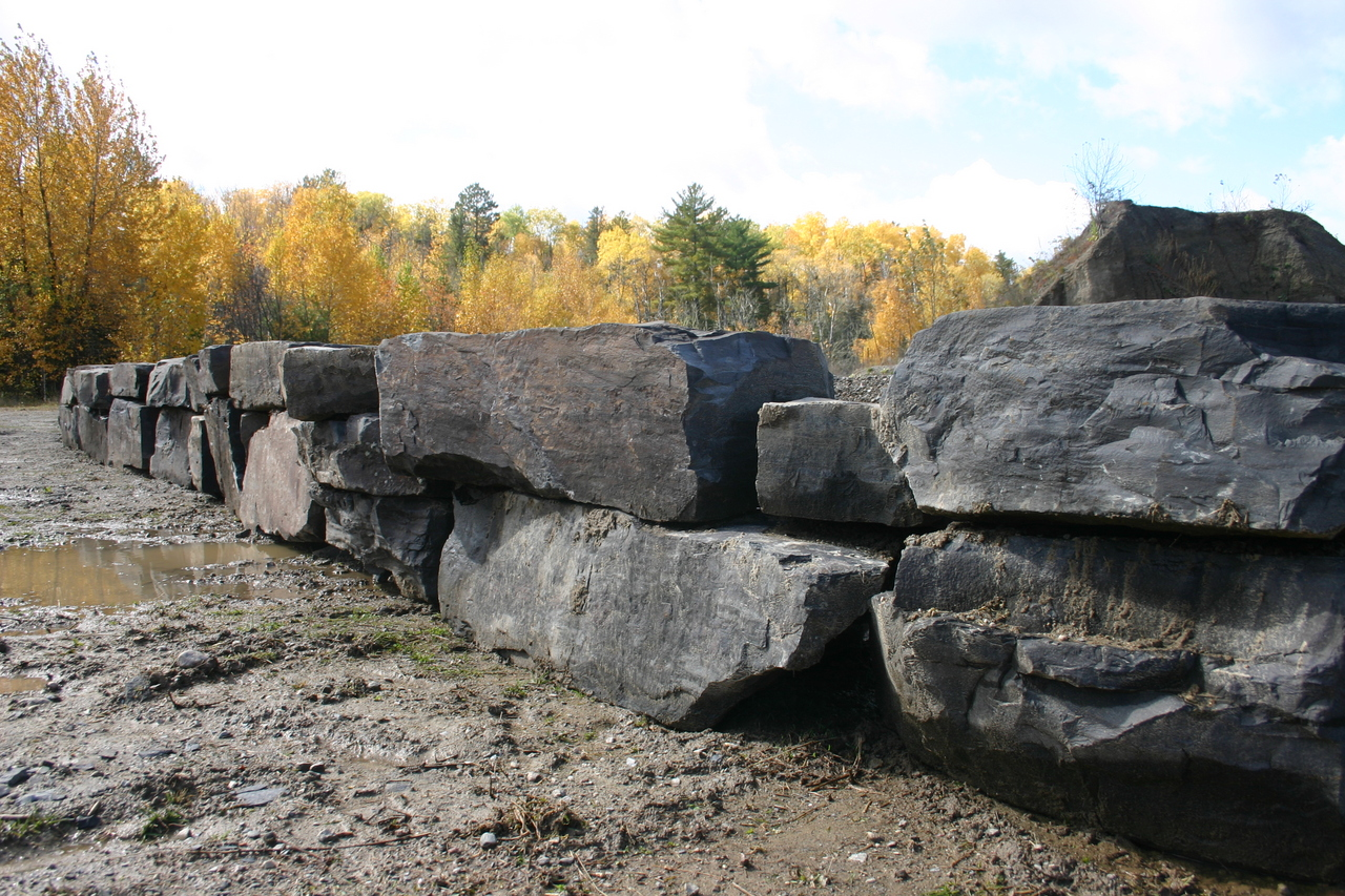 These rocks will be used for landscaping around the new bridge enbankments