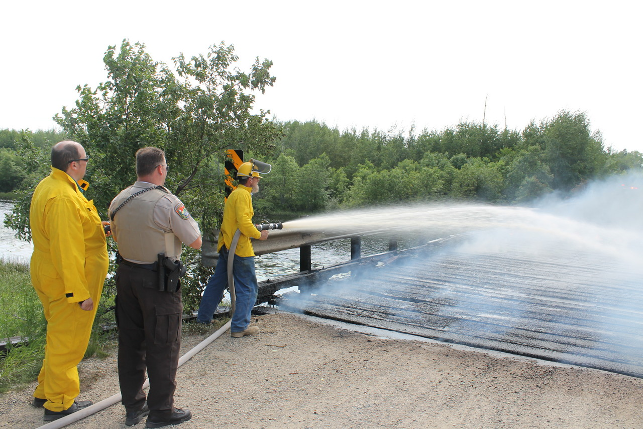 Fire crews from Pike-Sandy-Britt and the Embarrass Regional Volunteer Fire Department responded to the blaze.