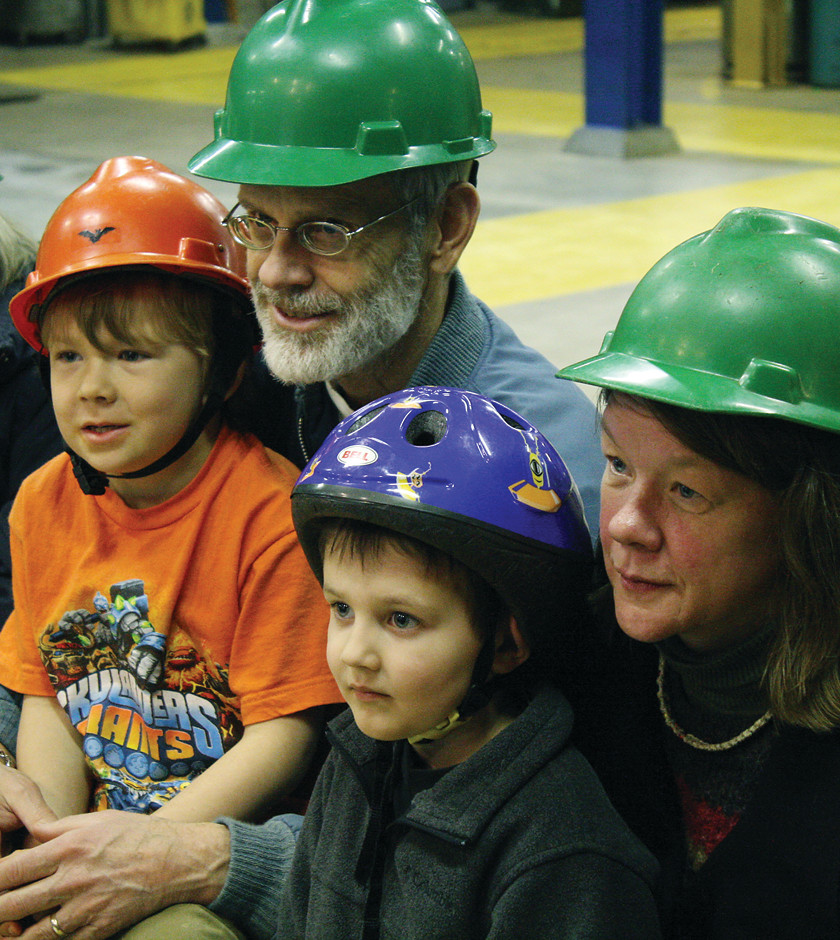 Steve Wilson, his cousin Chanda Welch, her son Hunter, 6, and his friend Kellin Pratt, 4, all of Tower, toured the Soudan Underground Laboratory during an open house last Saturday. The lab is located more than 2,000 feet below the surface of the earth. An open house was last held in 2010.