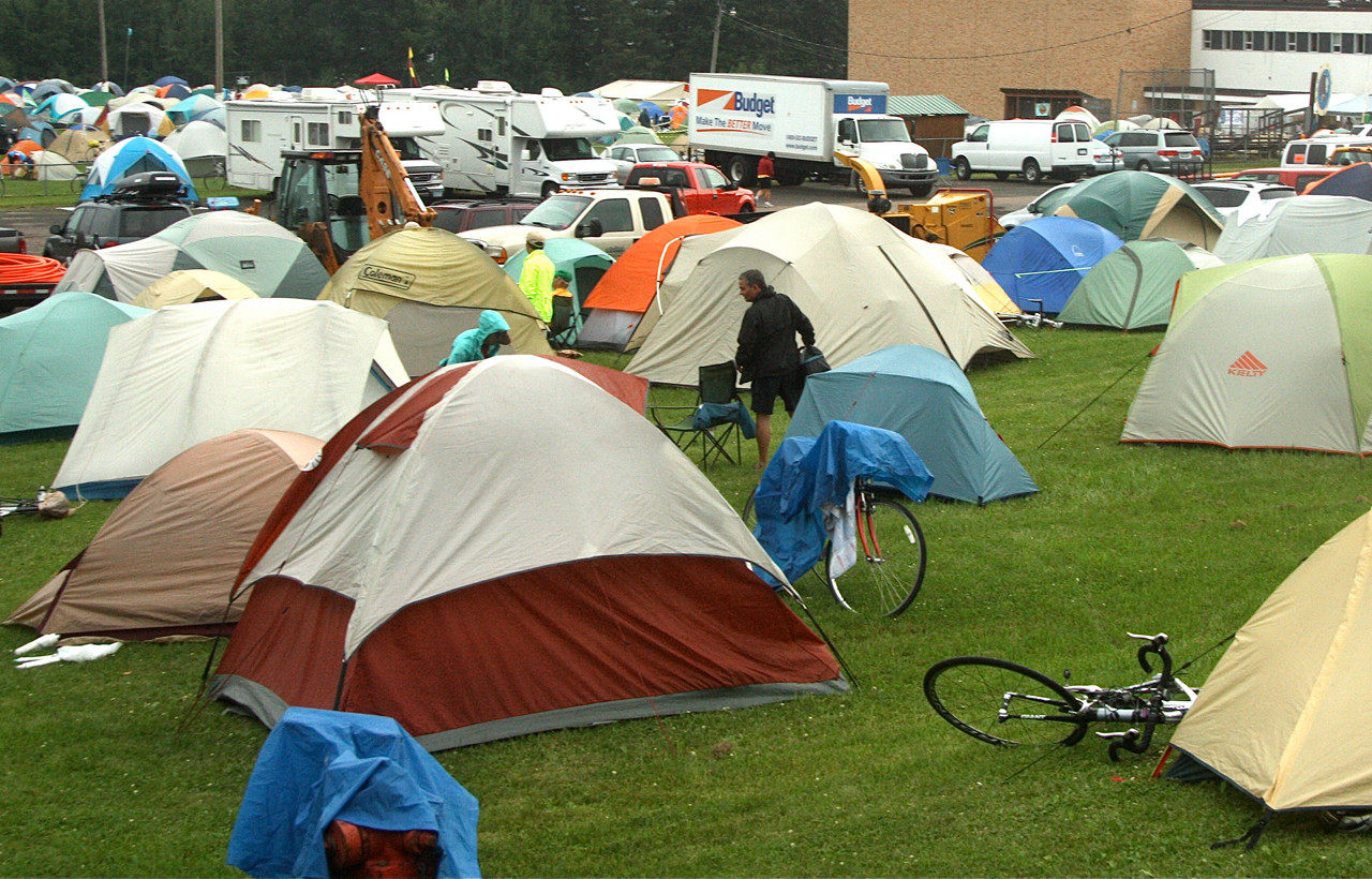 Bikers erected a tent city on the grounds of the former Orr School. The city of Orr played overnight host to hundreds of bicyclists who participated in the MS Tram, which         followed a circuitous route between Duluth and International Falls.