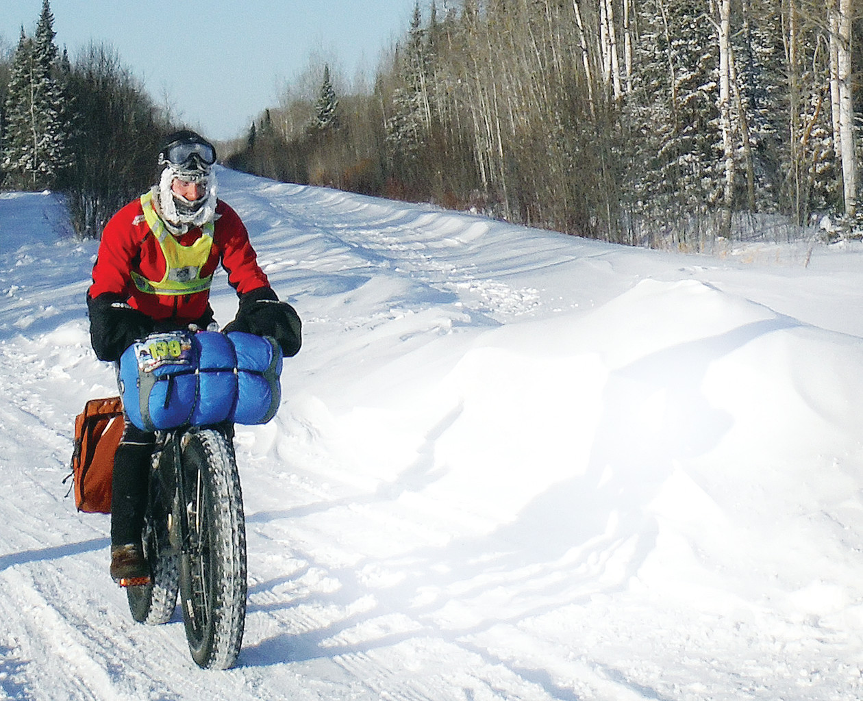A participant in the Arrowhead Ultra 135 makes his way along the Arrowhead Snowmobile Trail in far northern St. Louis County. Racers faced air 