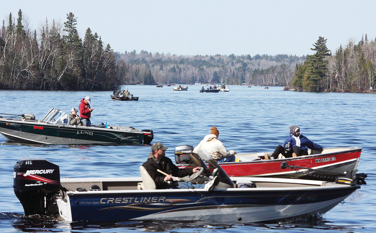 Anglers crowded into Pike Bay, one of the only large expanses of open water on Lake Vermilion as of opening weekend.