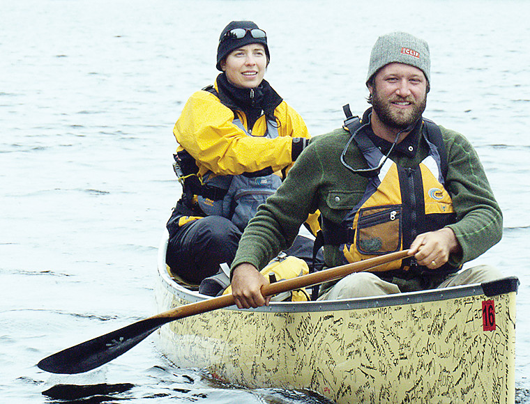 Dave and Amy Freeman during an earlier canoe adventure to Washington D.C. to meet with officials about sulfide mining.