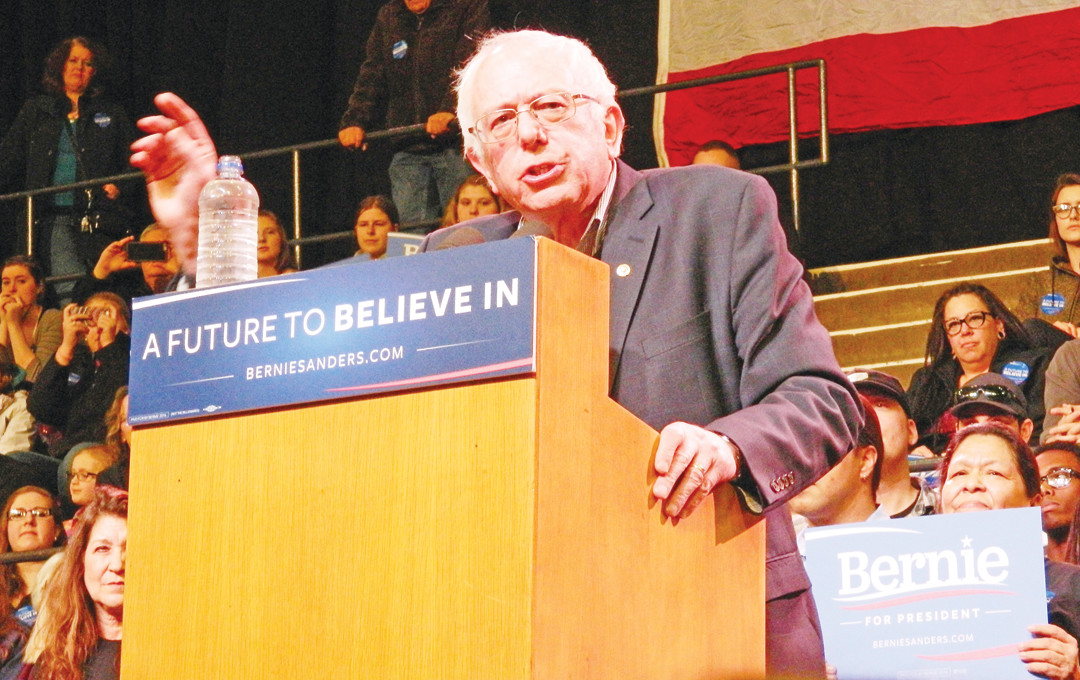 Democratic Presidential candidate Bernie Sanders spoke in Duluth on Tuesday. The latest polls have Sanders surging in Iowa ahead of that state's caucuses on Monday.