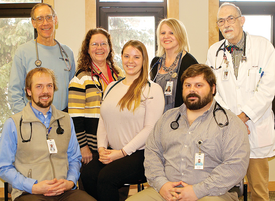 Medical personnel at the Scenic Rivers Health Services clinic in Cook include, left to right, (front row, seated) Dr. Matthew Holmes, Dr. Nicholas Vidor, (back row) Dr. Bruce Garbisch, Dr. Lynn Didrickson, Dr. Josie Norberg Lopez, certified nurse practioner Wendy Long and Dr. Harold Johnston.