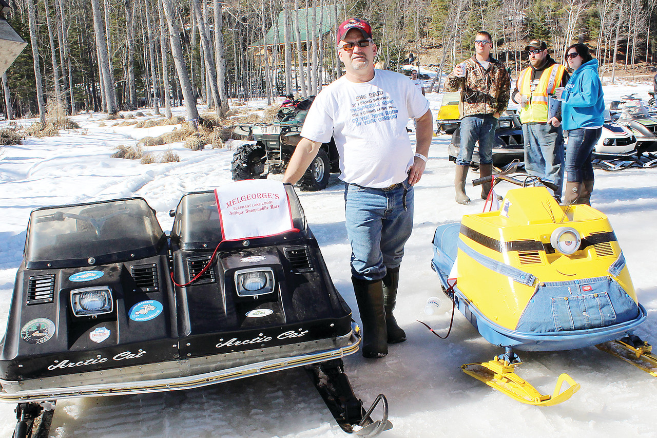 "Wayne Schlauderoff, of Detroit Lakes, brought two unique machines to the races including his combined Arctic Cats and a Ski-Doo modified to resemble an animated ""Minon"" character."