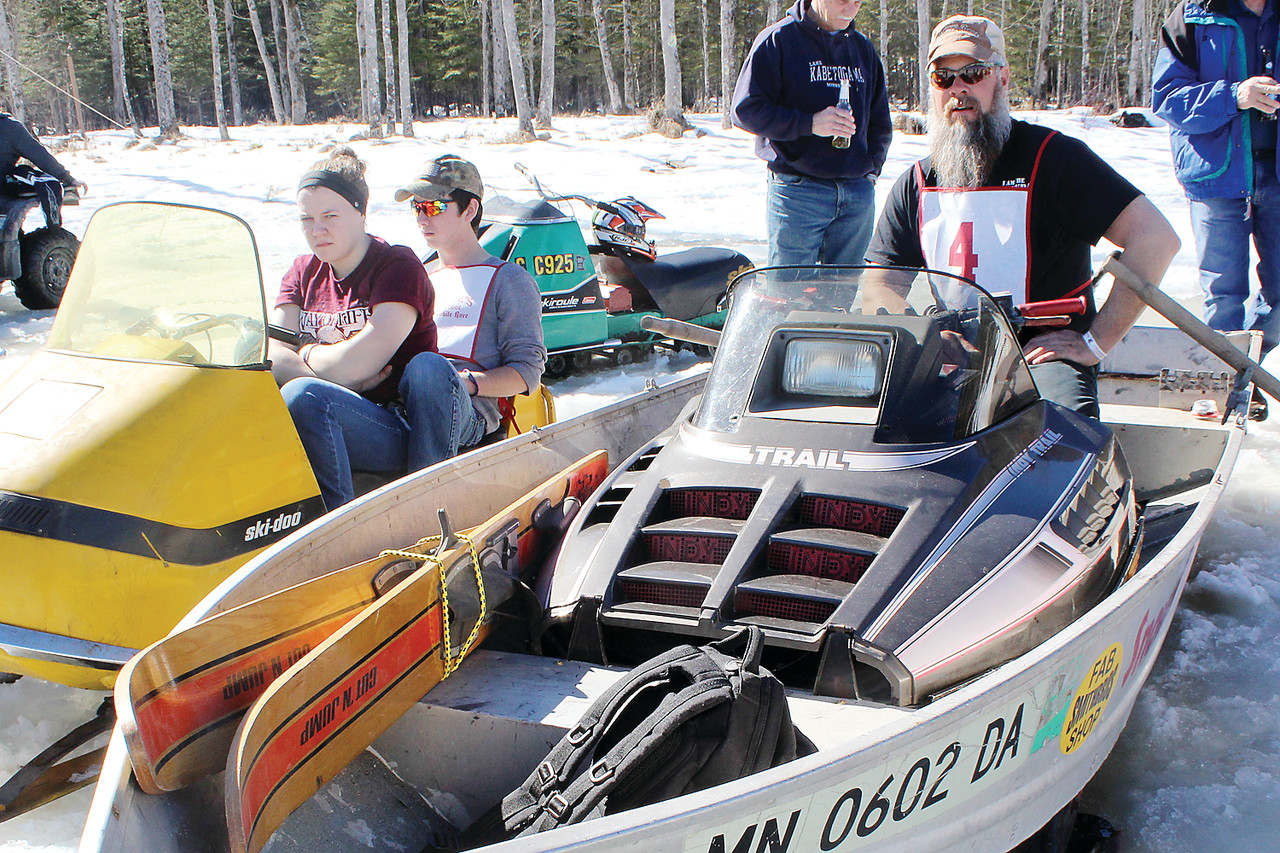 "Terry Smith, of Mora, combined an Arctic Cat with a 14-foot boat to create what he called his ""snowmoboat."""