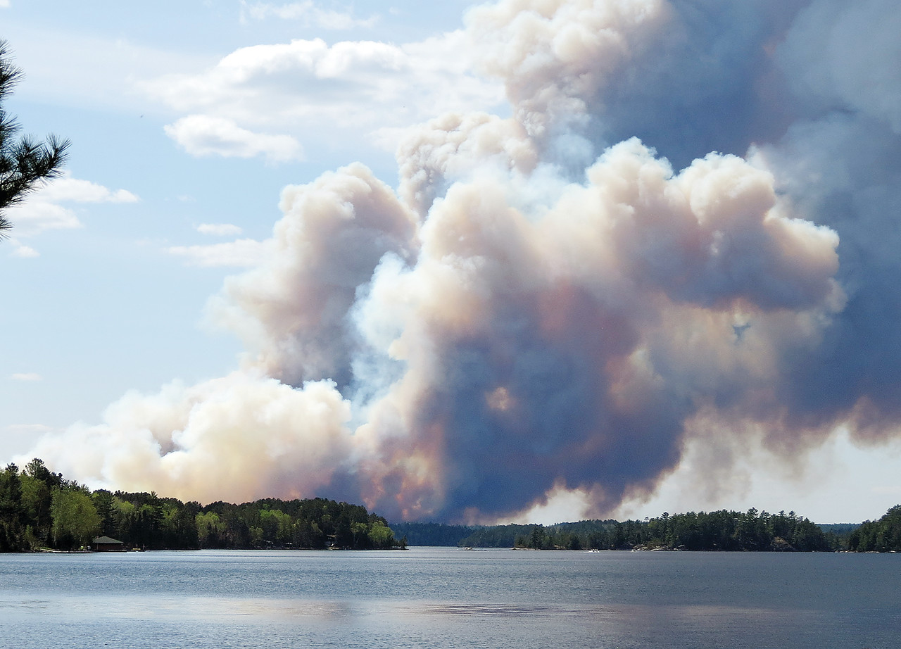 The Foss Lake fire viewed from the southwestern shore of Burntside Lake.