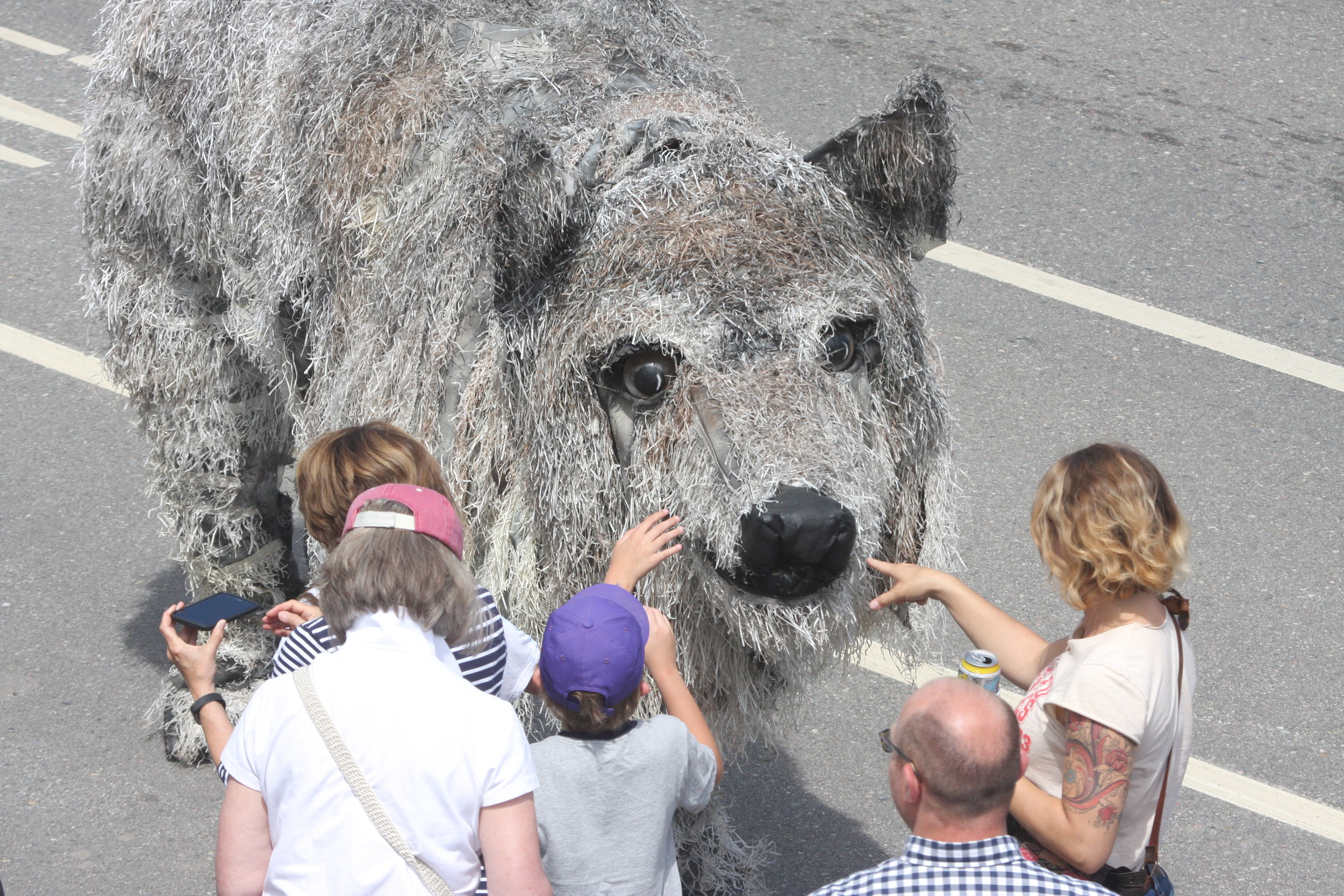 The giant wolf puppet in the Tower parade