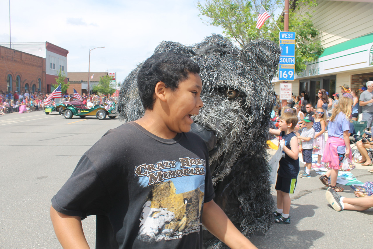 The giant puppet bear was a crowd favorite