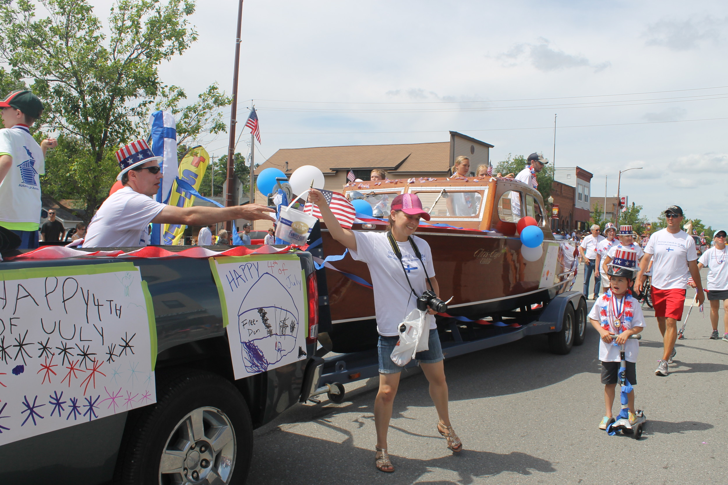 The Peterson family float in the Tower parade