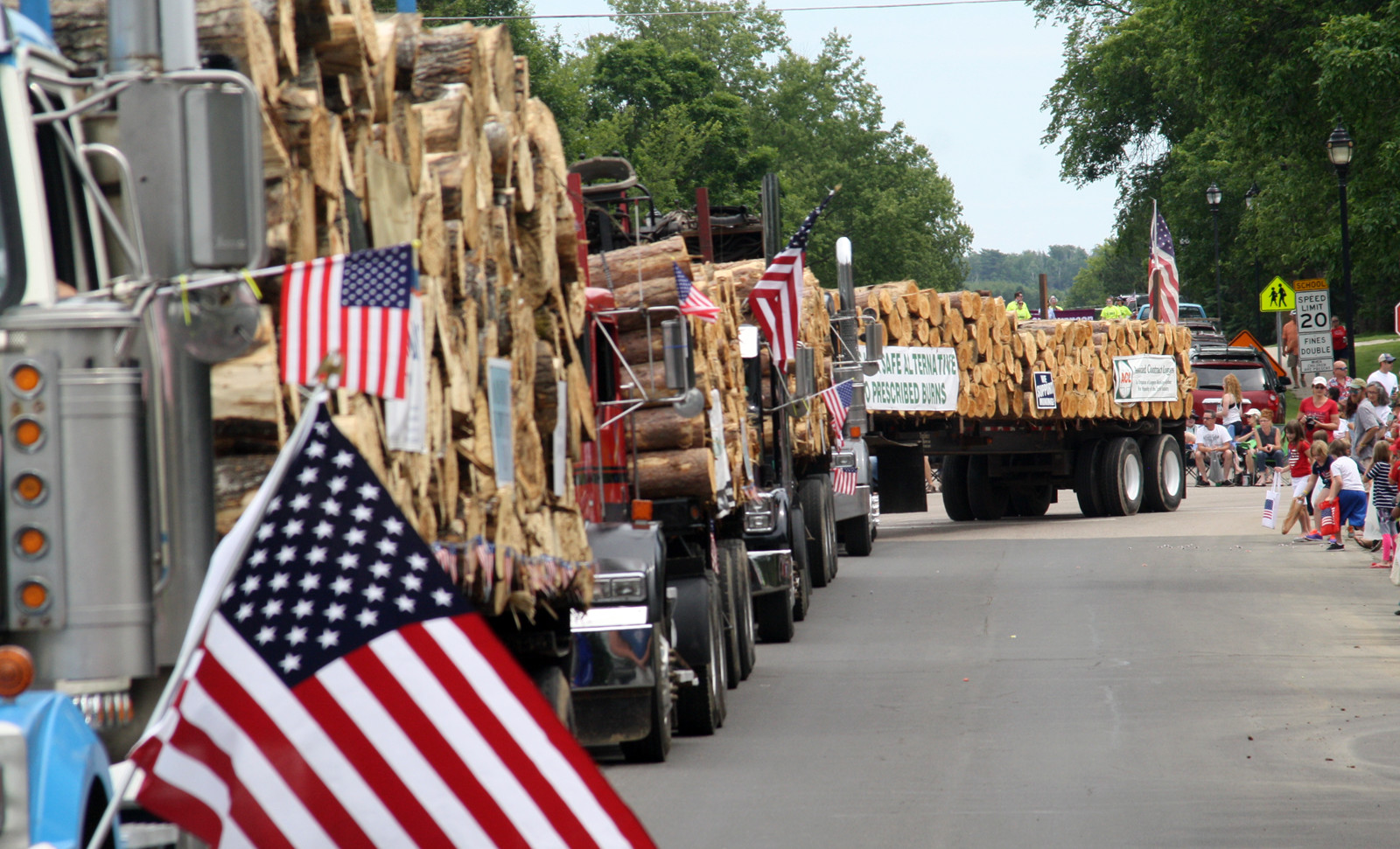 Lots of logging trucks in the Ely parade