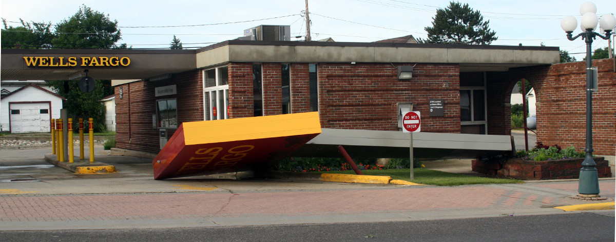 The Wells Fargo Bank sign in Ely was blown down in the storm.