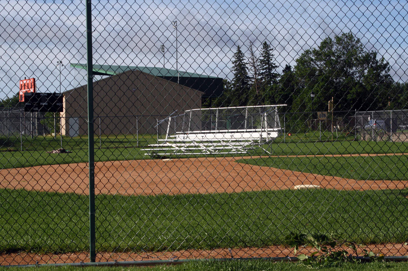 The Little League bleachers in Ely were toppled in the wind.
