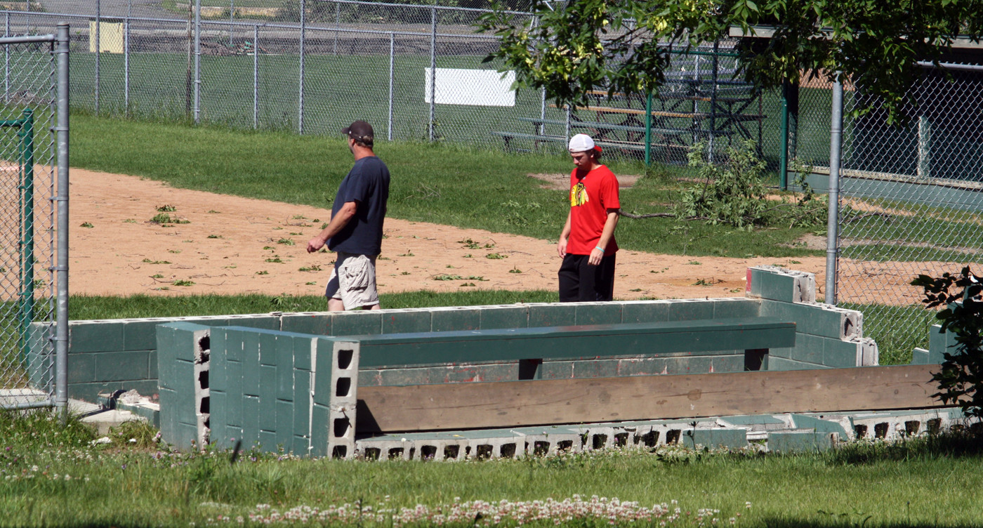 One of the softball field dugouts in Ely was toppled by the wind.