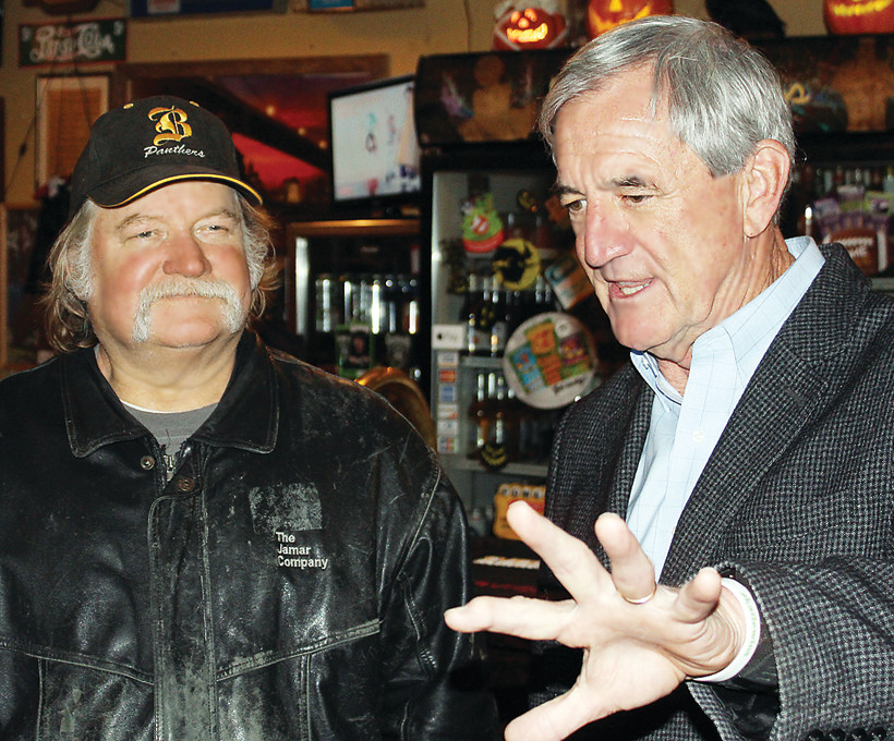 U.S. Rep. Rick Nolan made a campaign swing though northern Minnesota on Wednesday. Breitung Township Supervisor Greg Dostert talked with Nolan, who is in a close re-election battle with Stewart Mills III, at The Good Ol' Days in Tower.
