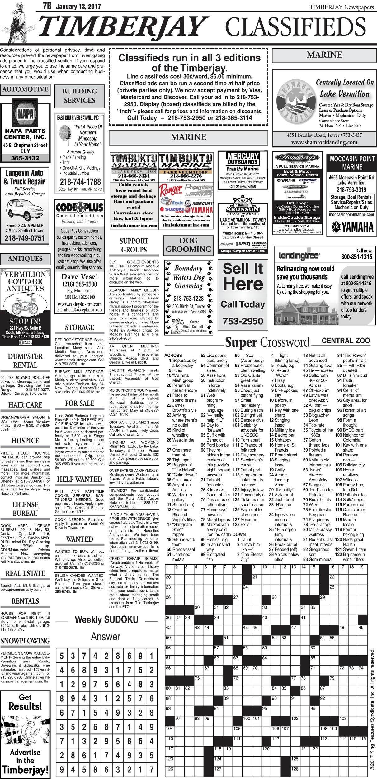 Click here to view the legal notices and classifieds on page 7B