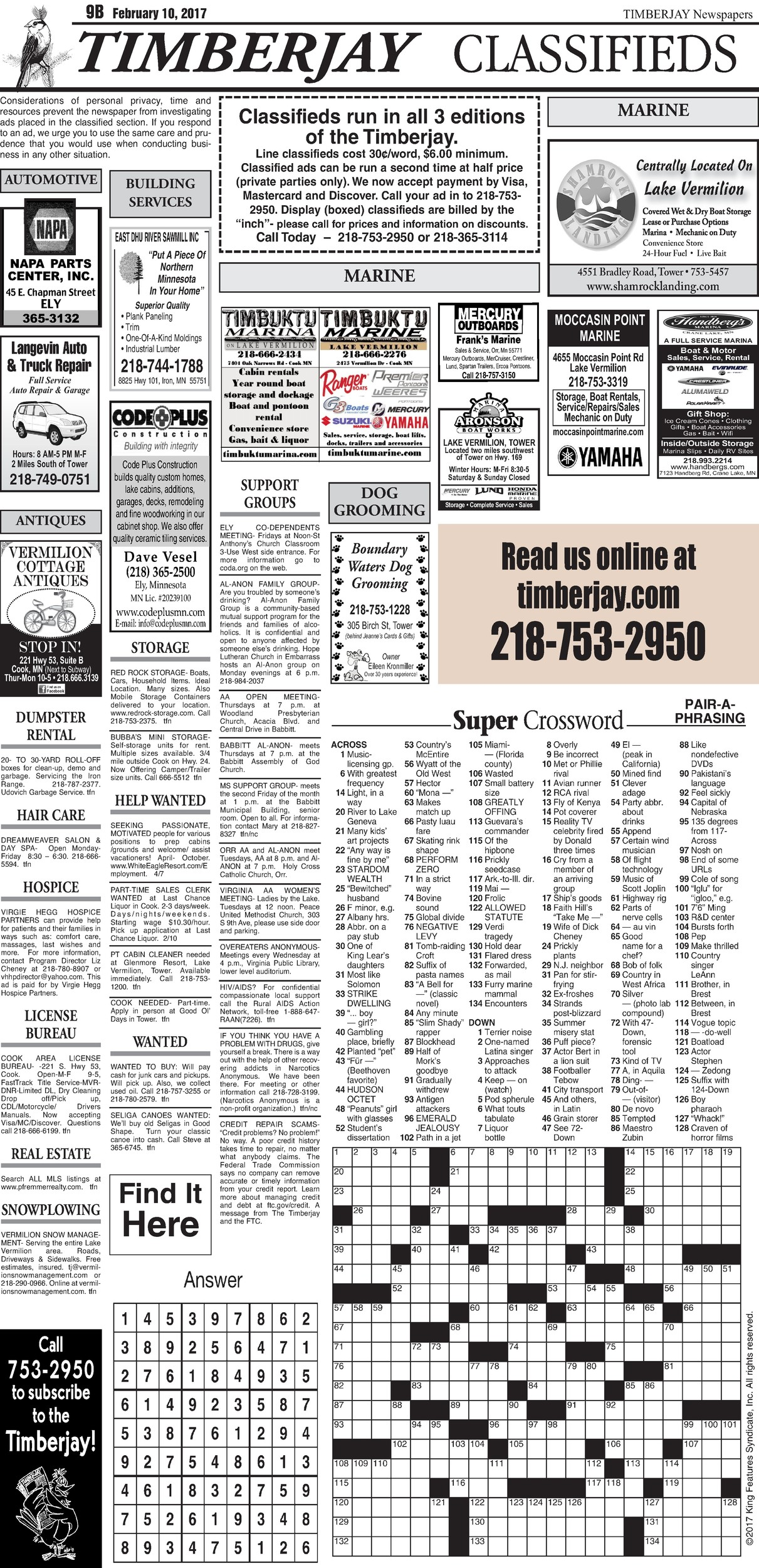 Click here for the legal notices and classifieds on page B9