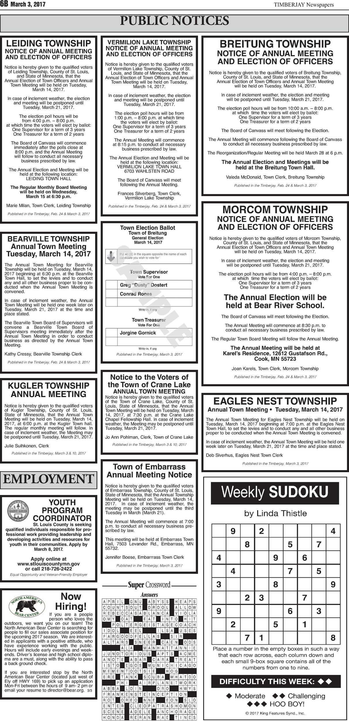 Click here for the legal notices and classifieds from page 6B