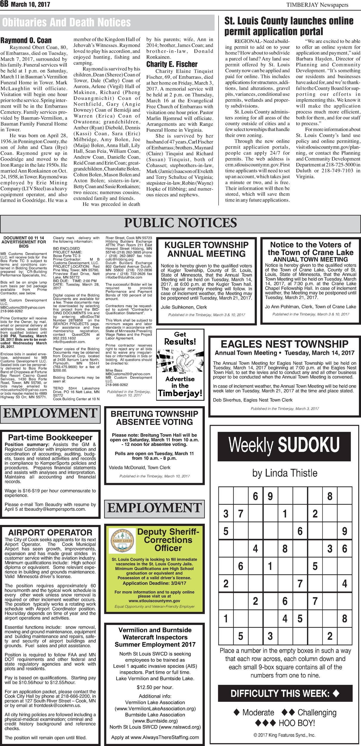 Click here to view the legal notices and classifieds on page 6B
