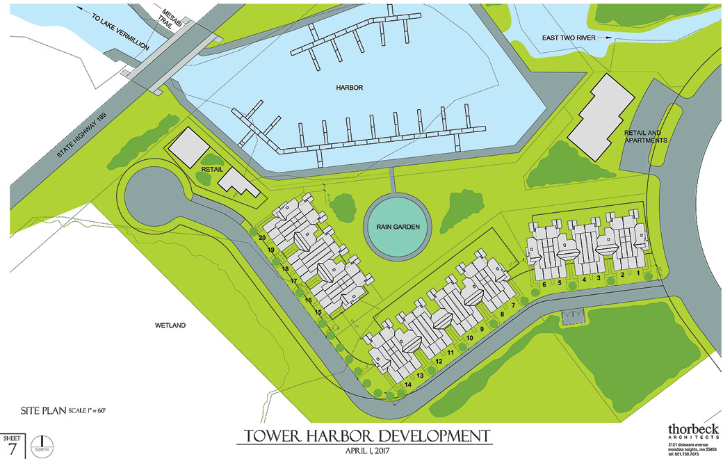 The finalized site map for the planned town home project at the Tower Harbor.