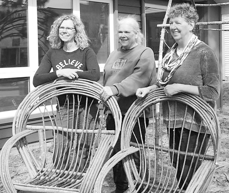 These three sisters combined to build two classic bent willow chairs during a class taught earlier this month at the Ely Folk School.